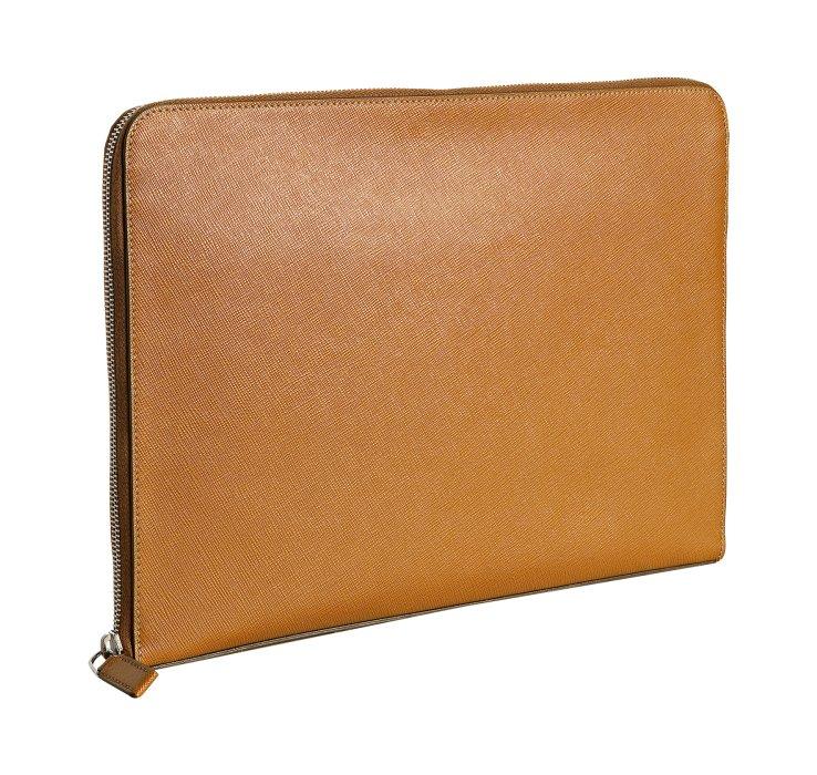 Prada Ochre Saffiano Leather Travel Portfolio Case In