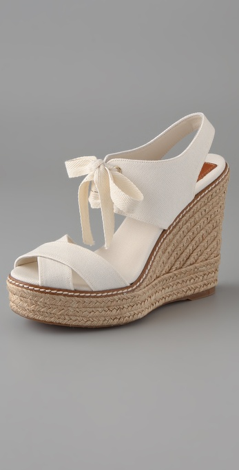 Lyst Tory Burch Lace Up Wedge Espadrilles In White