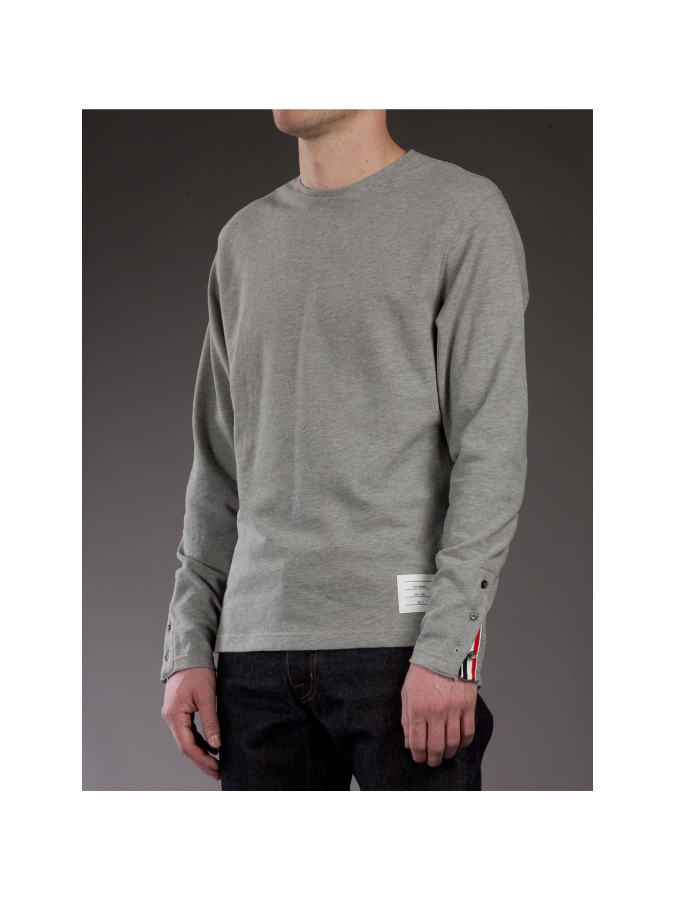 Thom browne long sleeved t shirt in gray for men lyst for Thom browne t shirt
