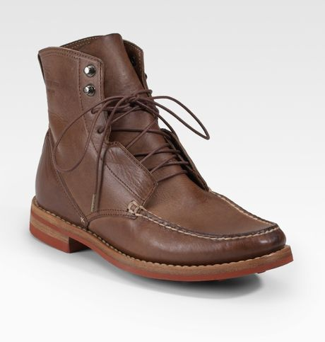 rag bone leather moccasin boots in brown for