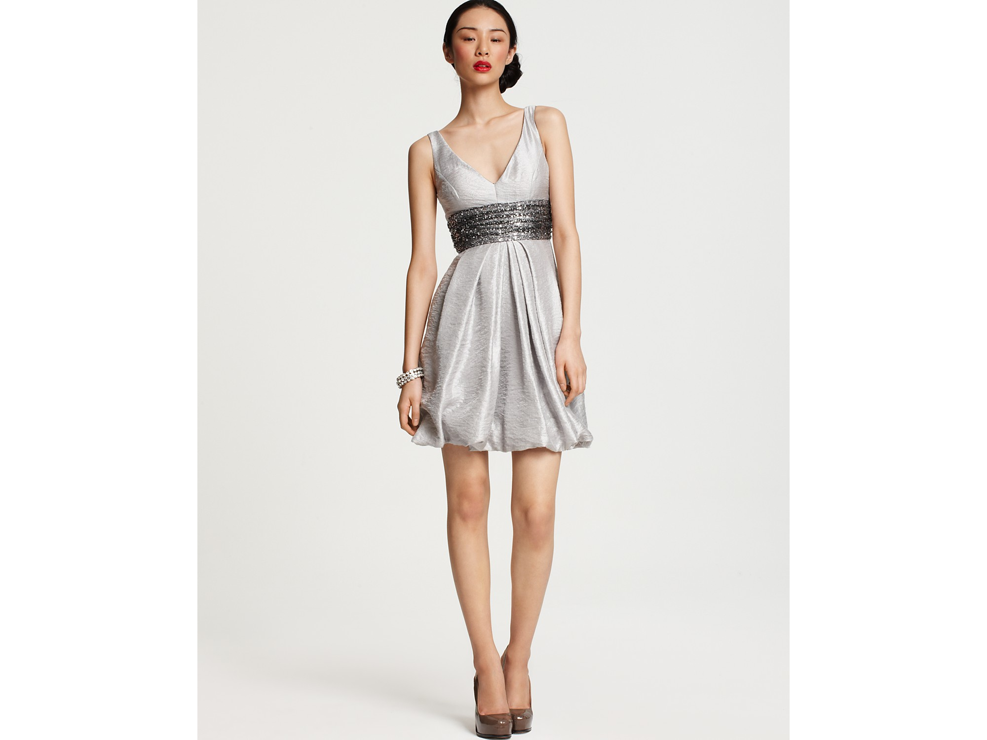 halter dress with wide belt in silver