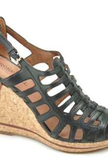 Rosegold Cynthia - Black Leather Wedge Sandal - Lyst