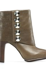 Be & D Langley Cuff Studded Booties in Green (Olive) - Lyst