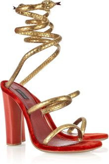 Marc Jacobs Wrap-around Python and Velvet Sandals - Lyst