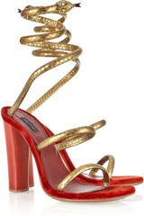 Marc Jacobs Wrap-around Python and Velvet Sandals