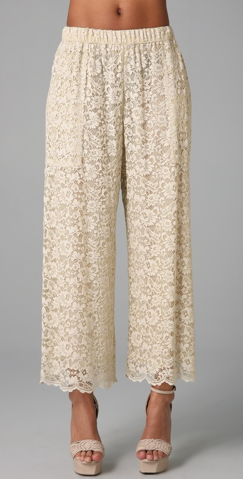 Dolce & gabbana Lace Wide Leg Pants in Natural | Lyst