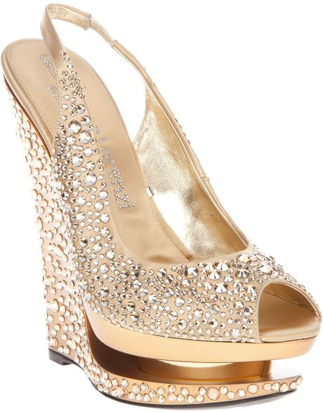 Gianmarco Lorenzi Crystal Embellished Wedge in Gold