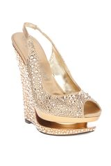 Gianmarco Lorenzi Crystal Embellished Wedge in Gold - Lyst