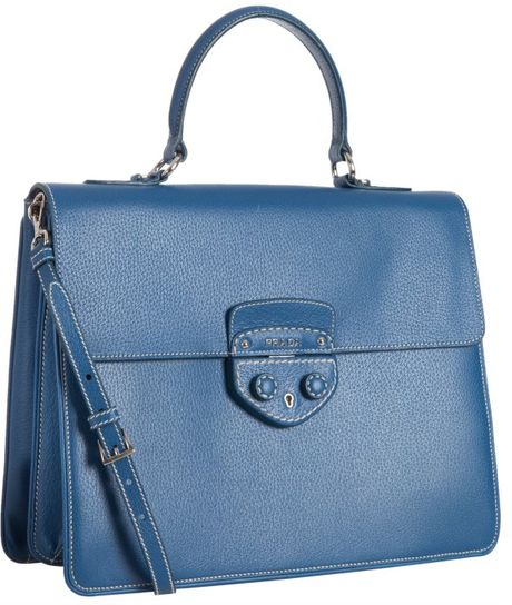 Prada Cobalt Pigskin Structured Messenger Bag in Blue (cobalt)