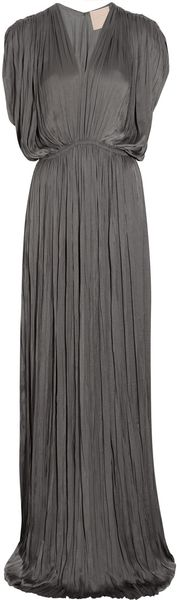 Lanvin Pleated Washed-satin Gown - Lyst