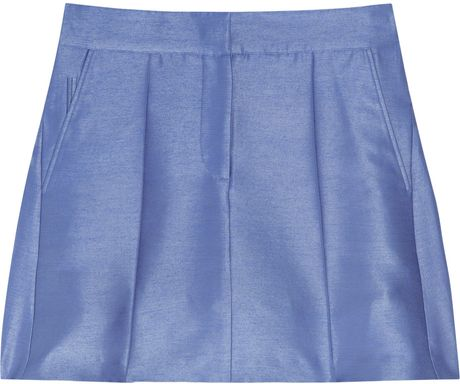 Pringle Of Scotland Silkchambray Mini Skirt in Blue (chambray) - Lyst
