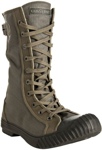 Converse Olive Rubberized Lace Up Boots In Green For Men