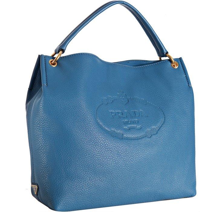 ... 50% off lyst prada cobalt leather vitello daino logo stamped hobo in  blue ac071 fb1bd ... d230433d4e