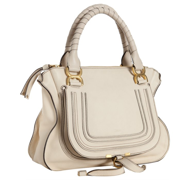 Chlo�� Milk Calfskin Marcie Top Handle Bag in Beige (ivory) | Lyst