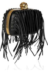 Alexander Mcqueen Classic Skull Fringeembellished Leather Box Clutch in Black - Lyst