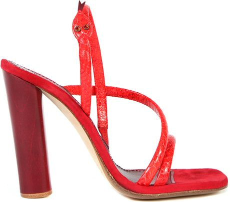 Marc Jacobs Leather and Calf Velvet Snake Sandals in Red (snake) - Lyst