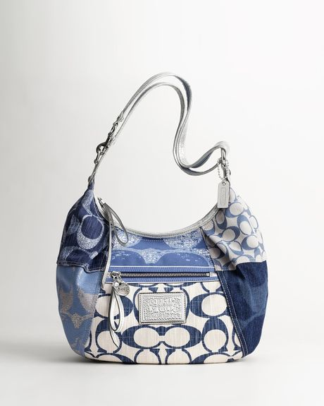 Coach Poppy Denim Patchwork Boho in Blue (Denim Multi)
