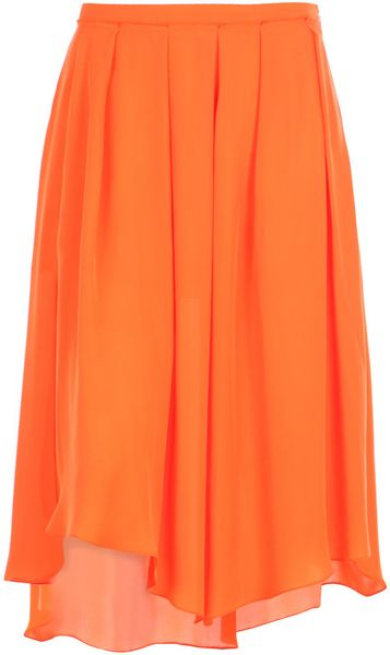 Cacharel Pleated Silk Skirt in Orange - Lyst
