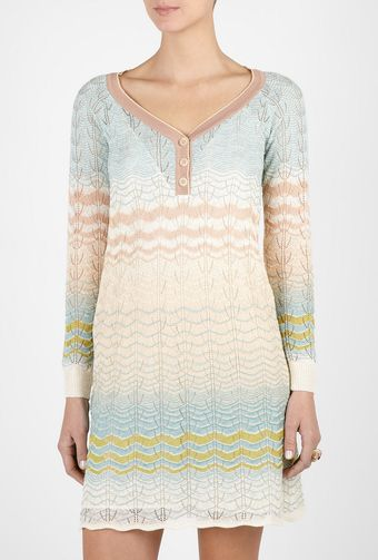 M Missoni Three Button Long Sleeve Wave Dress - Lyst