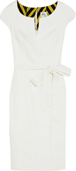 Milly Haley Belted Linenblend Dress in White - Lyst