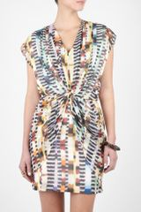 Paul Smith Black Label Animal Print Brushstroke Knot Front Dress