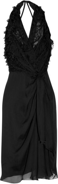 Alberta Ferretti Draped Silkchiffon Dress in Black - Lyst