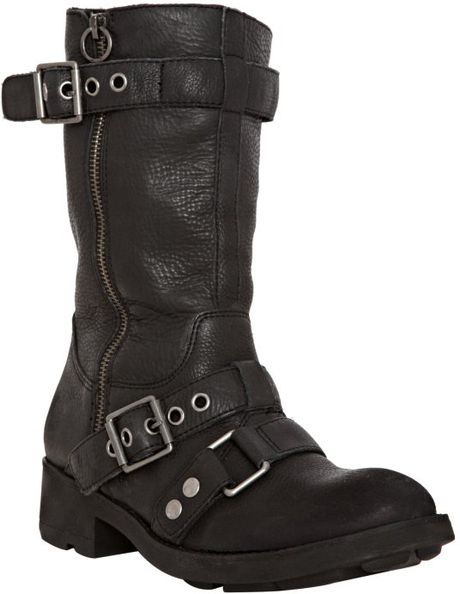 ash black leather flat motorcycle boots in black lyst