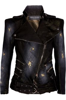 Balmain Distressed Denim Biker Jacket - Lyst