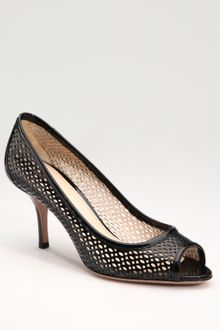 Prada Laser Cut Patent Leather Peep-toe Pumps - Lyst
