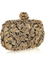 Alexander Mcqueen Engraved Leaf and Thorn Box Clutch in Gold - Lyst