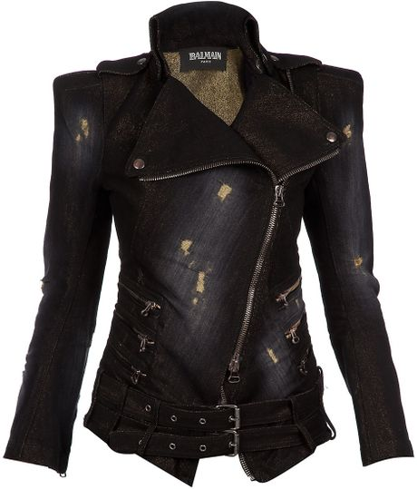 Balmain Distressed Denim Biker Jacket in Black - Lyst