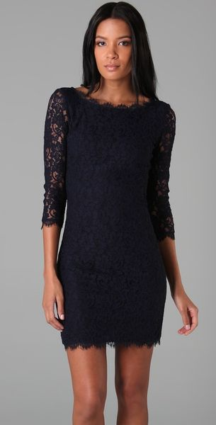 Navy Dvf Zarita Dress Lace Zarita Dress in Blue