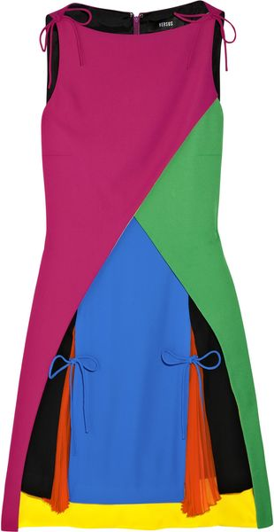 Versus Color-block Crepe Mini Dress in Multicolor (multicolored) - Lyst
