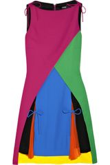 Versus Colorblock Crepe Mini Dress in Multicolor (multicolored) - Lyst