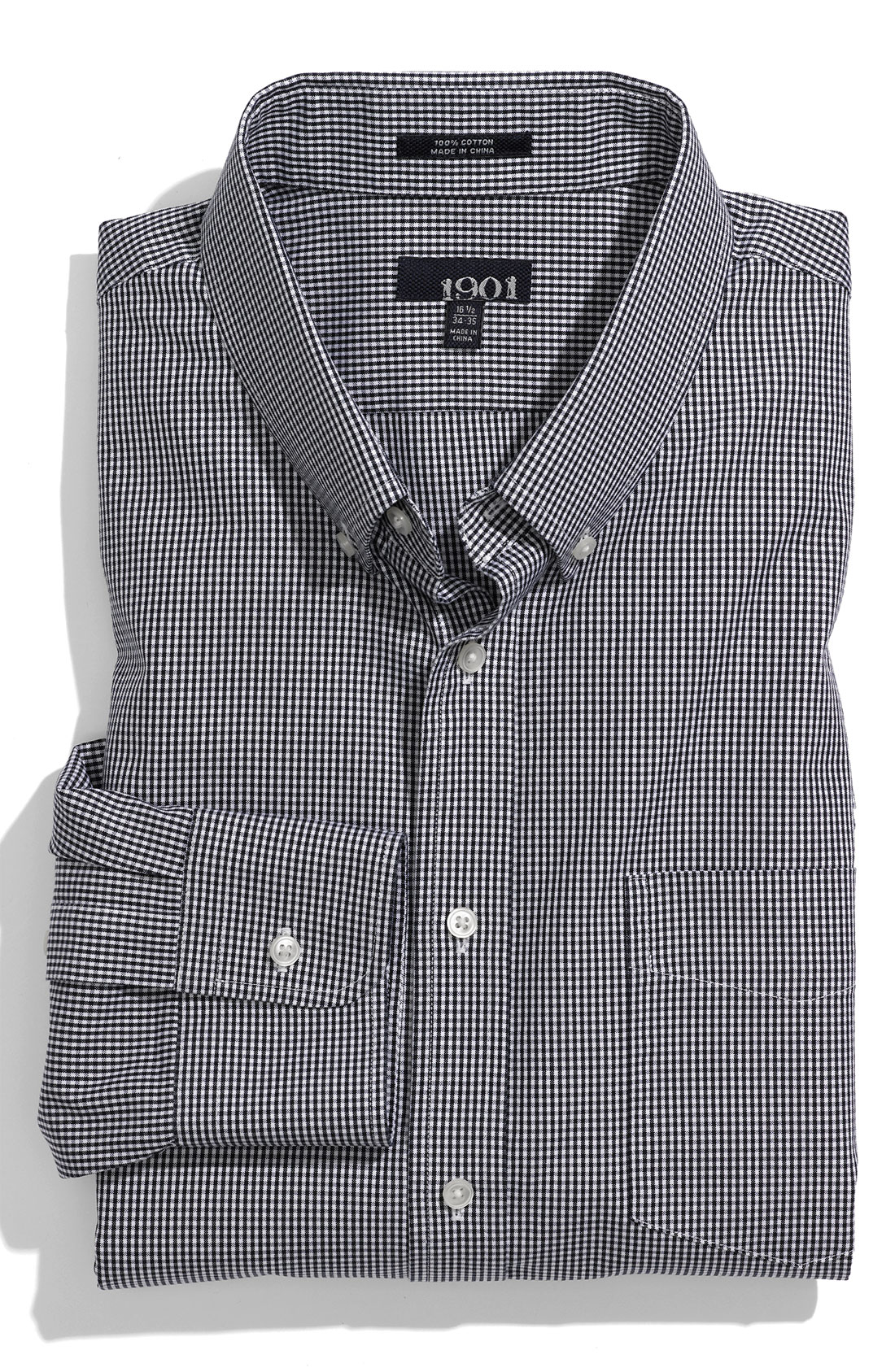 1901 trim fit dress shirt in blue for men navy gingham for Navy blue checkered dress shirt