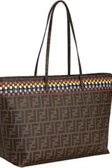 Fendi Tobacco Zucca Canvas Color Dot Roll Tote - Lyst