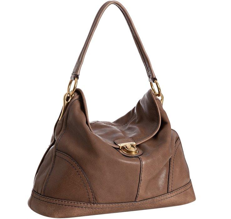 Prada Stone Deerskin Pushlock Shoulder Bag in Brown (taupe) | Lyst