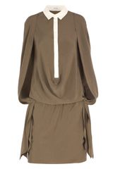 Carven Silk Cape Shoulder Dress in Green (khaki) - Lyst