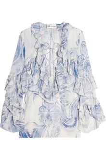 Emilio Pucci Ruffled Cotton and Silk-blend Blouse - Lyst