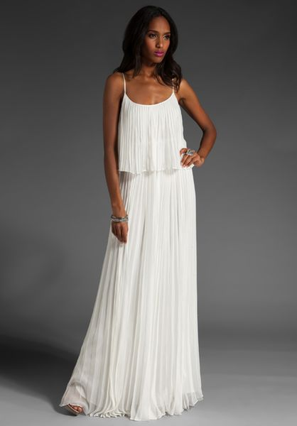 Halston Heritage Pleated Long Dress In White Lyst