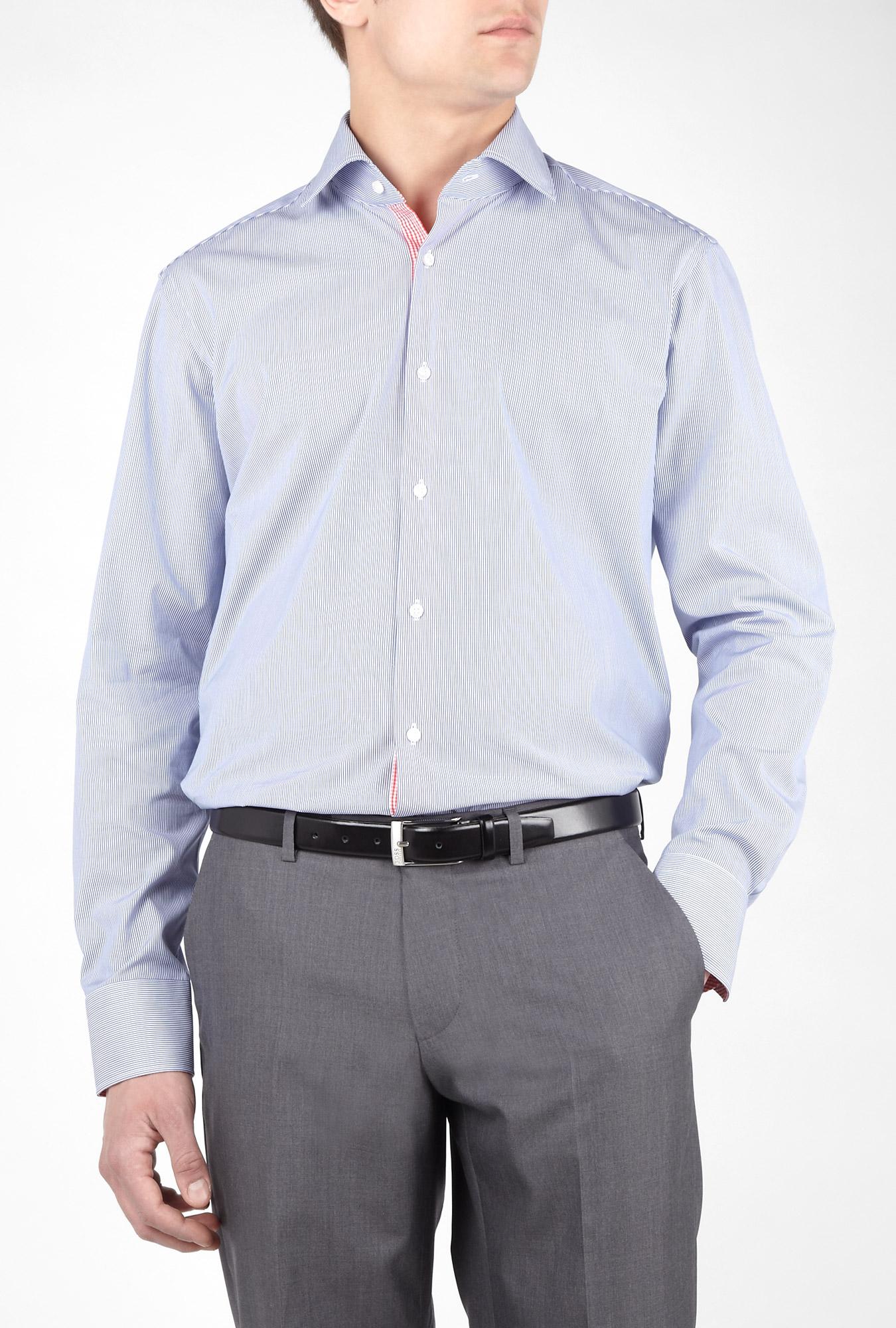 hugo boss black blue fine stripe red placket shirt in blue. Black Bedroom Furniture Sets. Home Design Ideas