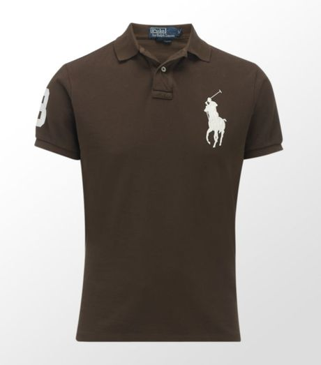 Ralph lauren big pony polo shirt in brown for men for Mens chocolate brown shirt