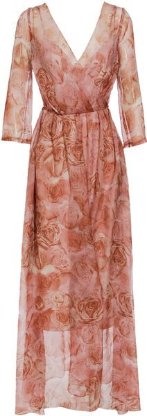 Hermione De Paula Rose Printed Silk Chiffon Dress - Lyst