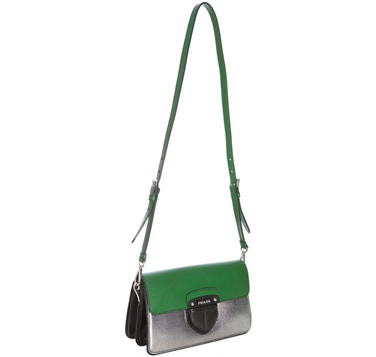 f734cbb4d6d2 ... get lyst prada green and silver pigskin convertible crossbody bag in  green 042ab feb56