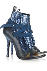 Thakoon Glitter Snake-effect and Leather Ankle Boots