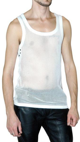 Burberry Prorsum Cotton Mesh Tank Top In White For Men Lyst