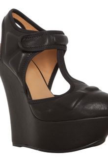 L.a.m.b. Black Leather Caitlyn T-strap Platform Wedges - Lyst