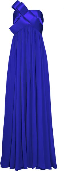 Notte By Marchesa Bow-embellished Strapless Silk-chiffon Gown in Blue