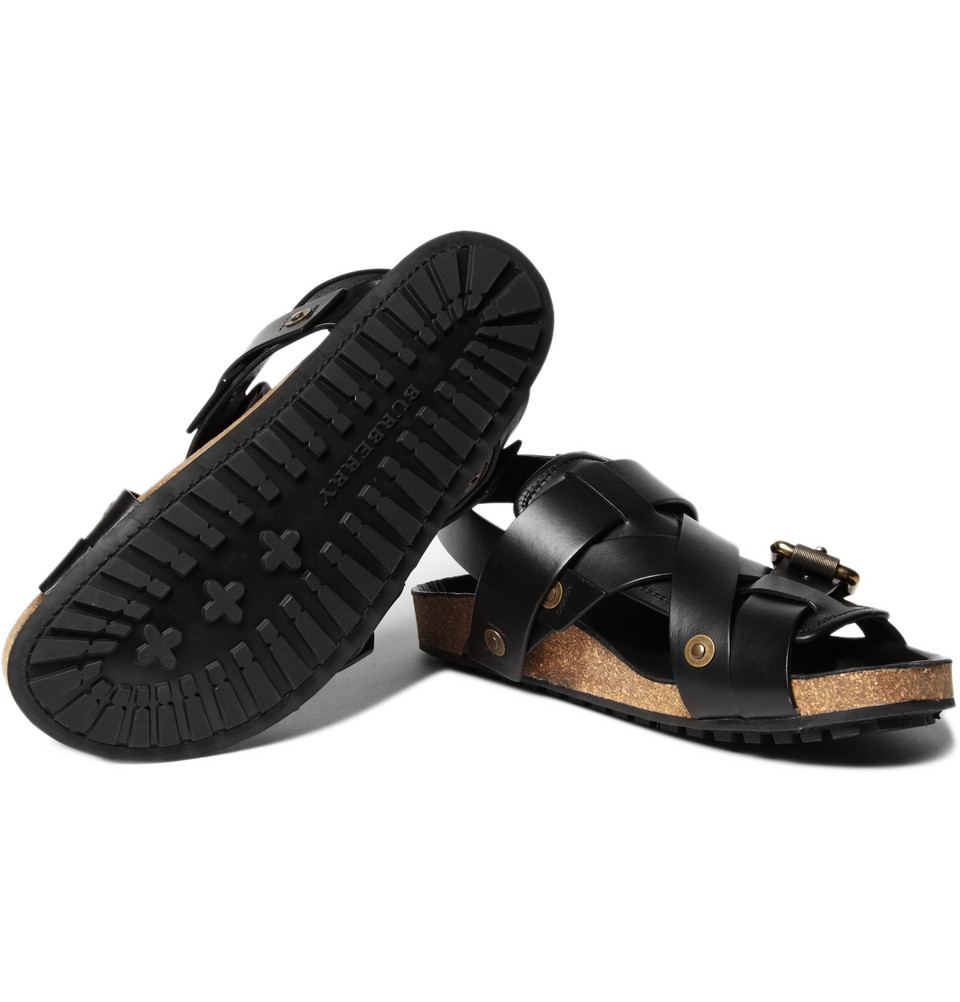 Burberry Prorsum Buckle Strap Sandals In Black For Men Lyst