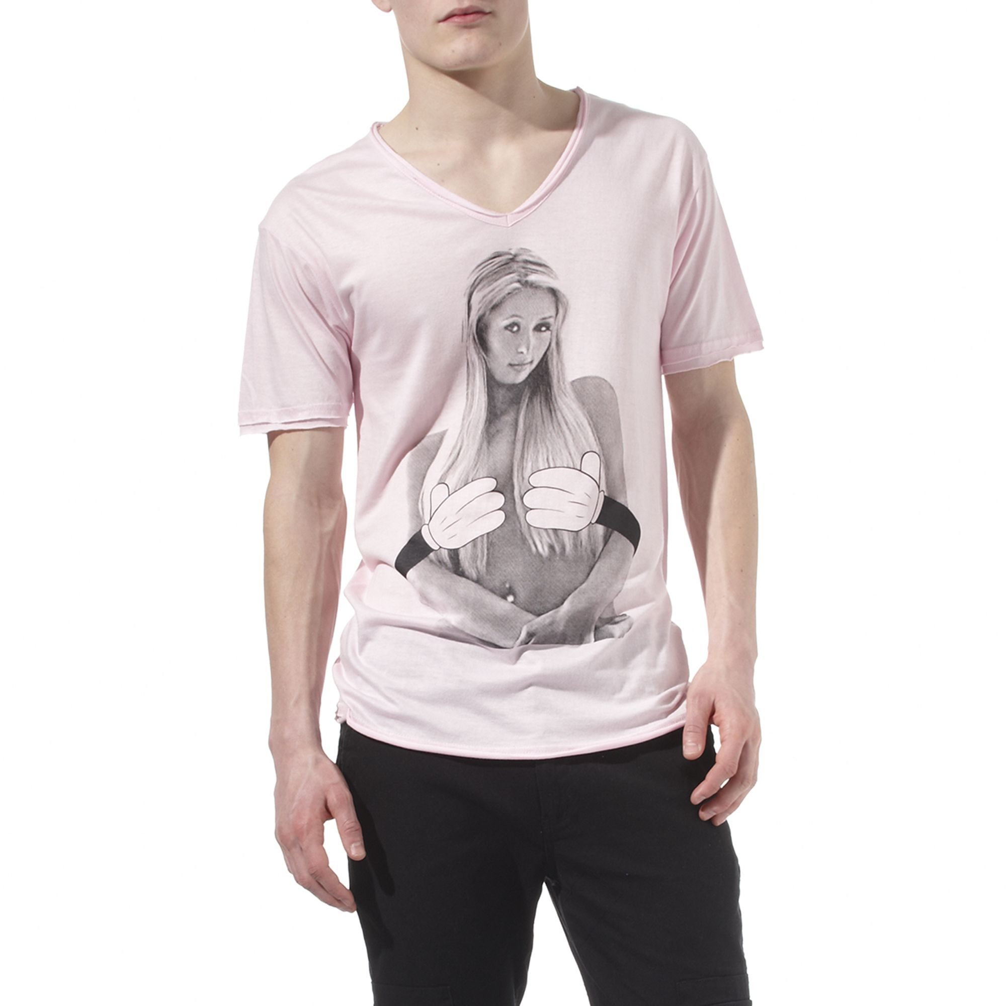 eleven paris paris hilton printed t shirt in pink for men lyst. Black Bedroom Furniture Sets. Home Design Ideas